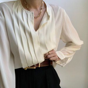Vintage Ivory Pleated Collarless Blouse